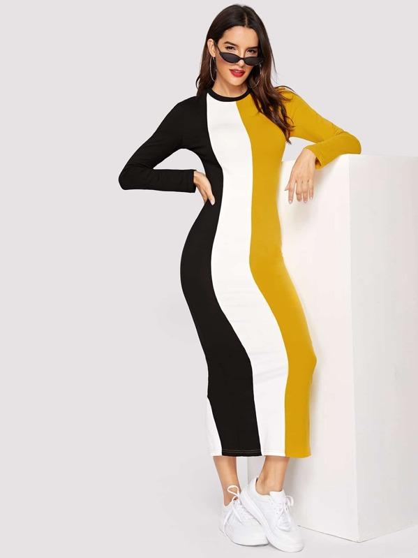 Cut-and-sew Split Back Pencil Dress, Juliana