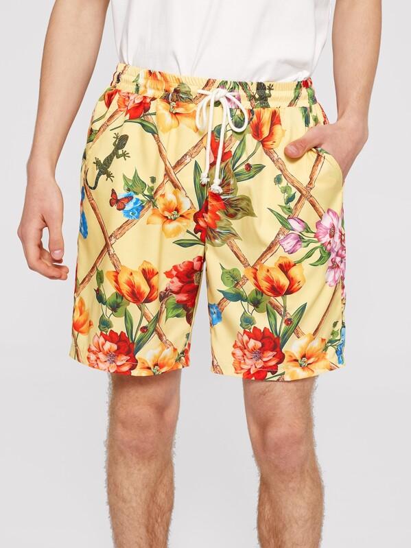 Men Drawstring Waist Floral Fence Print Shorts