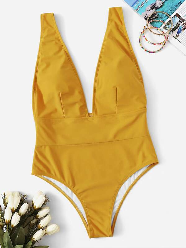Low Back Plunge One Piece Swimwear