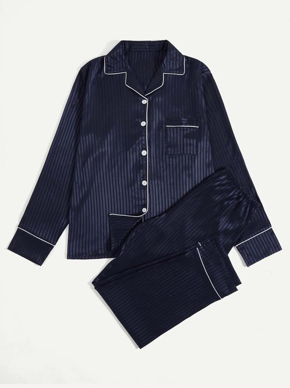 Men Satin Contrast Binding Striped Pajama Set