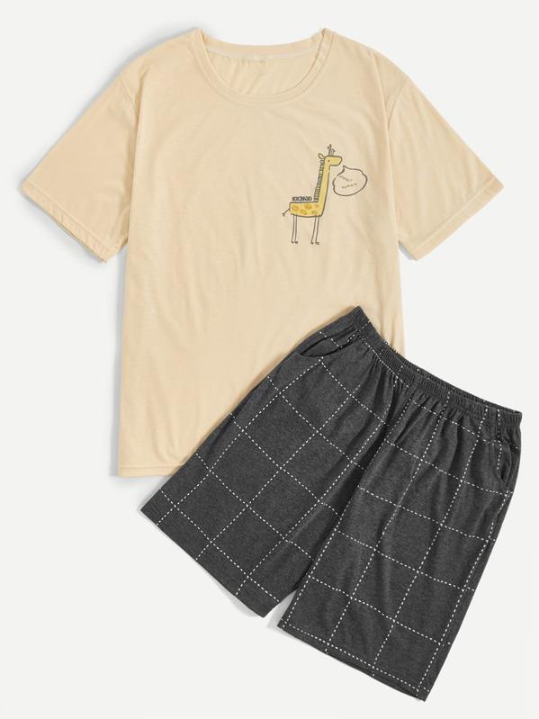 Men Giraffe Print Plaid Pajama Set