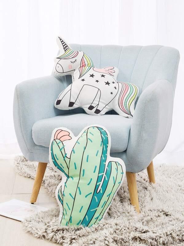Unicorn & Cactus Decorative Pillow 1pc, null