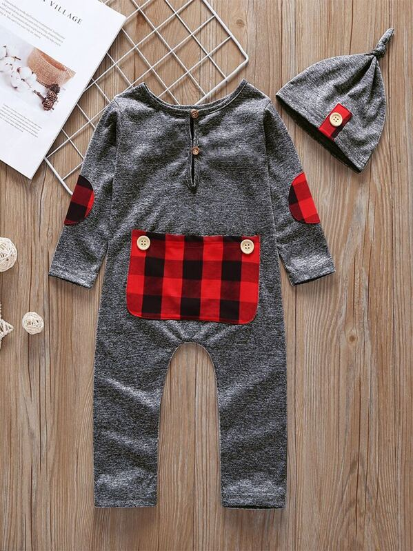 Toddler Boys Elbow Patch Contrast Plaid Jumpsuit With Hat
