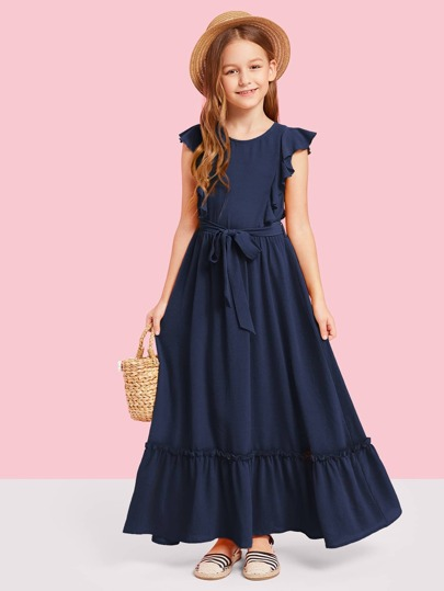 91338b13e فستان ذو سطح مزخرف بحزام ومقلم مكشكش -للبنات