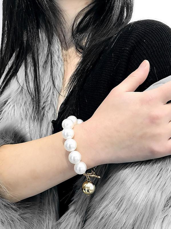 Faux Pearl Beaded Bracelet 1pc