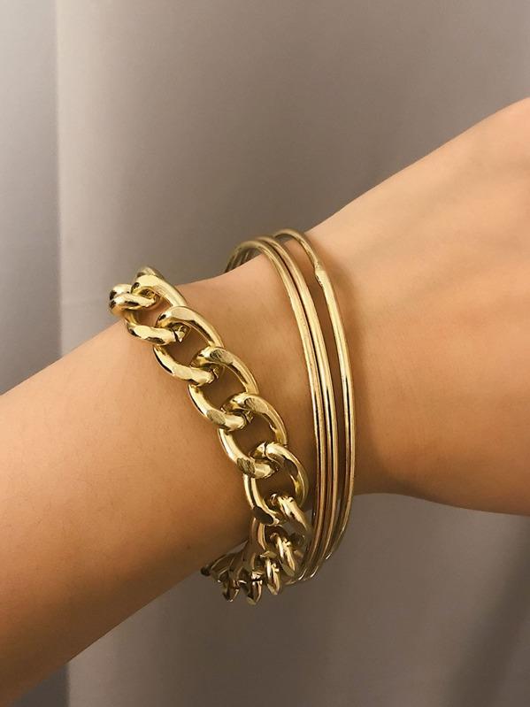Plain Link & Bangle Bracelet 4pcs