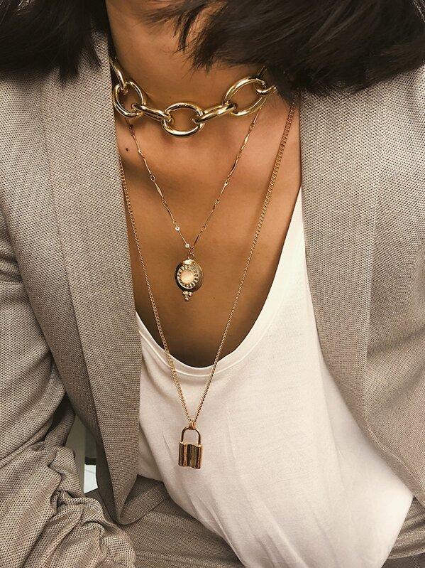 Lock Pendant Layered Chain Necklace 1pc