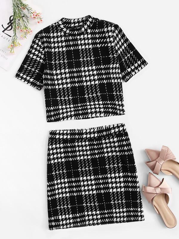 Mock-neck Houndstooth Print Top & Skirt Set, null