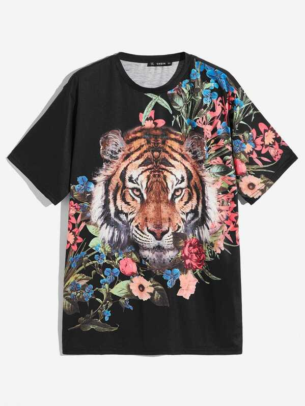 Men Tiger and Floral Print Tee