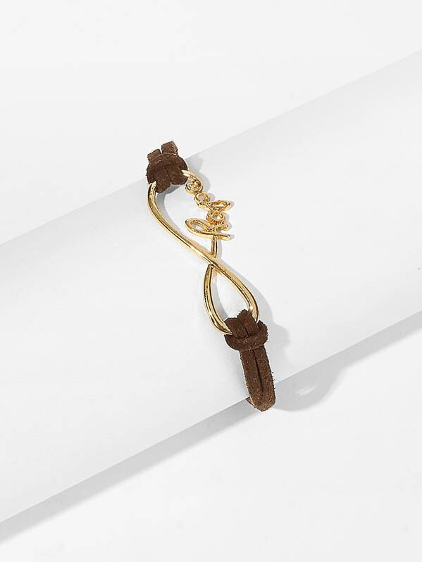Letter Decor Infinity Bracelet 1pc