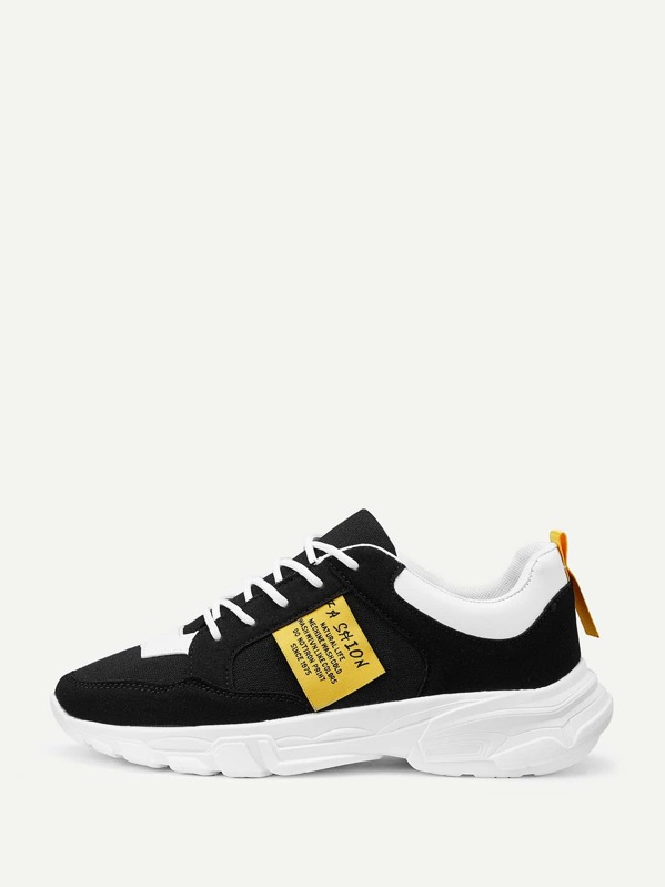 Men Slogan Patch Suede Sneakers