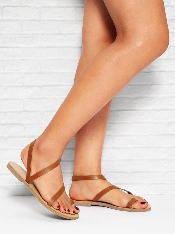 Strappy Toe Ring Flat Sandals