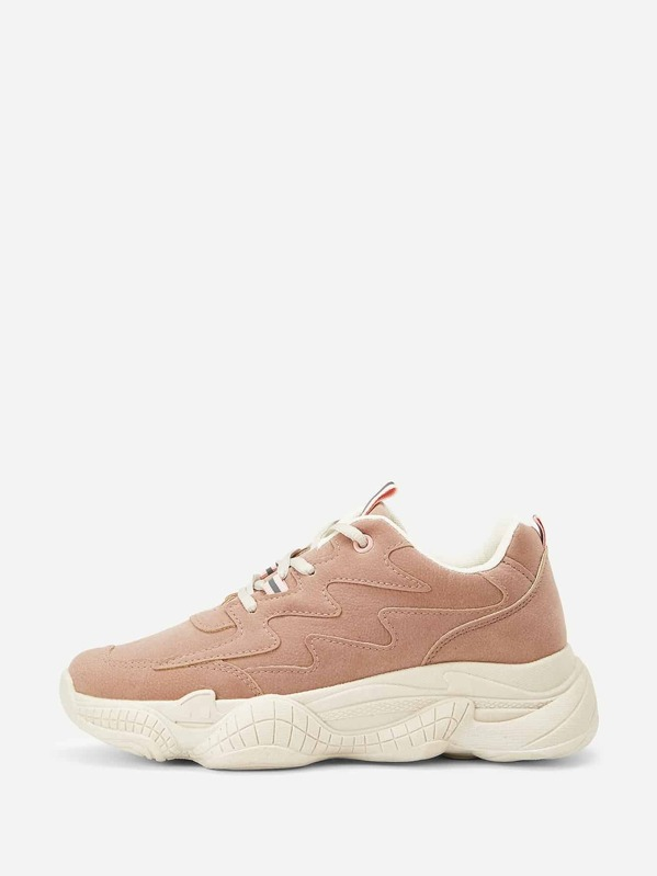 Lace-up Front Suede Trainers