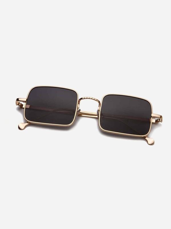 Men Metal Frame Square Lens Sunglasses