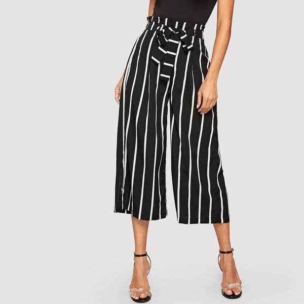 Striped Frilled Waist With Belt Wide Leg Crop Pants