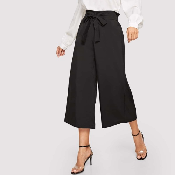 Paperbag Waist Wide Leg Pants With Belt