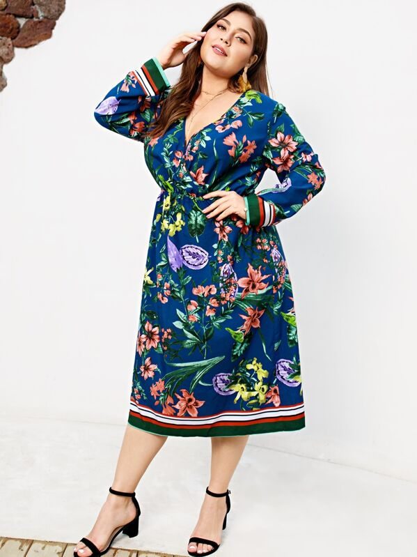 Plus Floral Print Striped Dress
