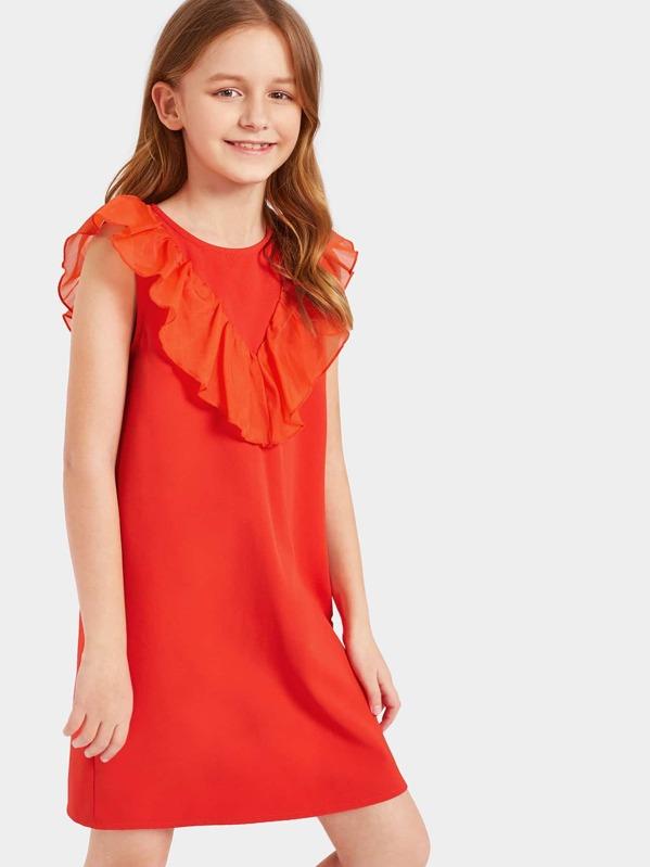 Girls Chevron Ruffle Trim Tunic Dress, Sashab