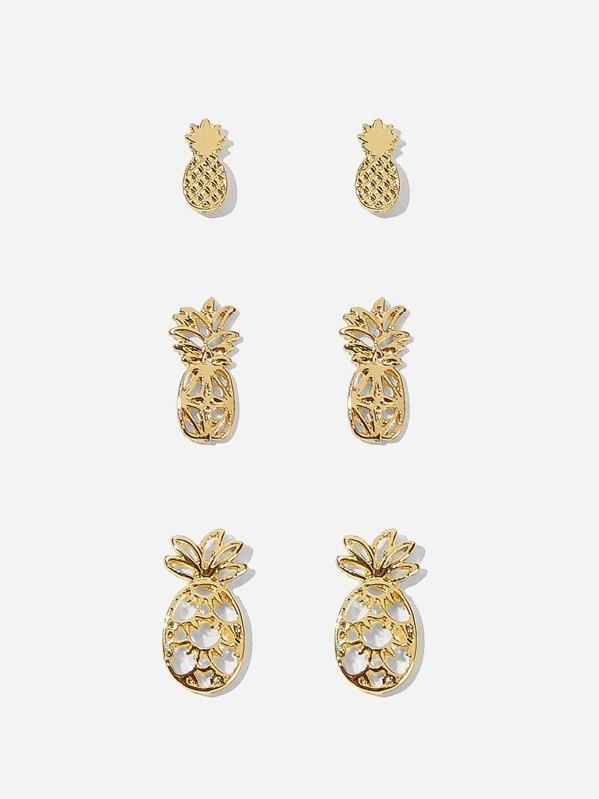 Pineapple Shaped Stud Earrings 3pairs