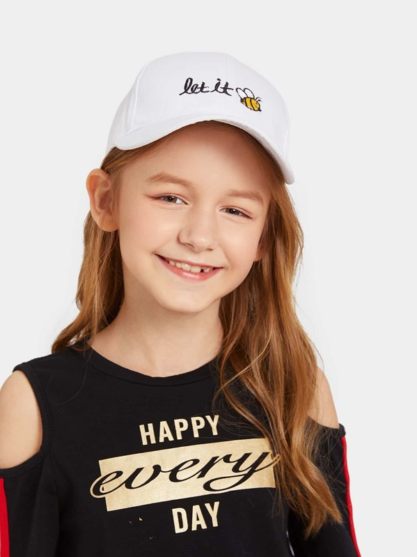 Kids Letter & Bee Embroidery Baseball Cap