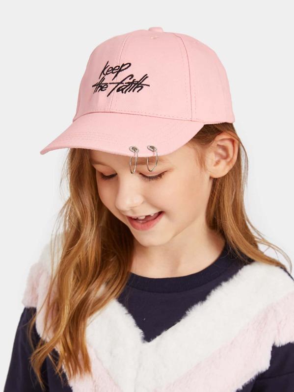 Kids Ring Detail Embroidery Baseball Cap