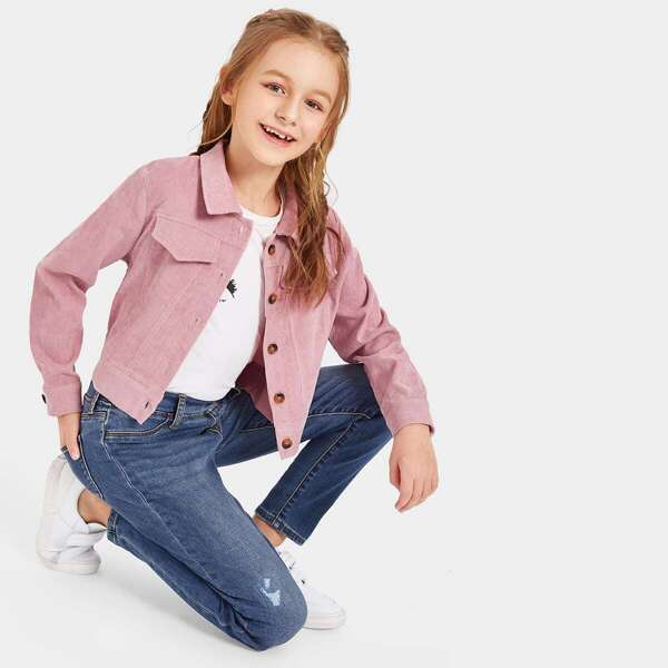 Girls Button Up Cord Jacket