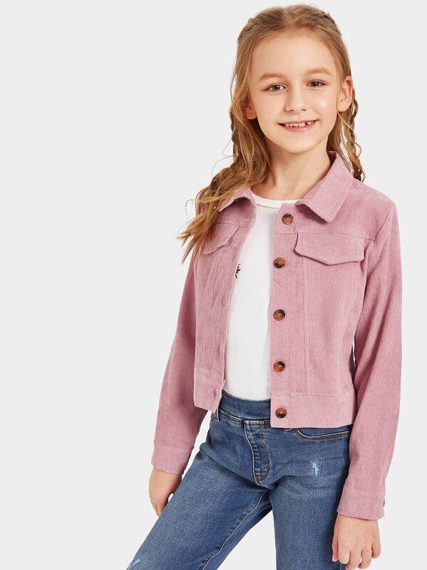 Girls Button Up Cord Jacket, Sashab