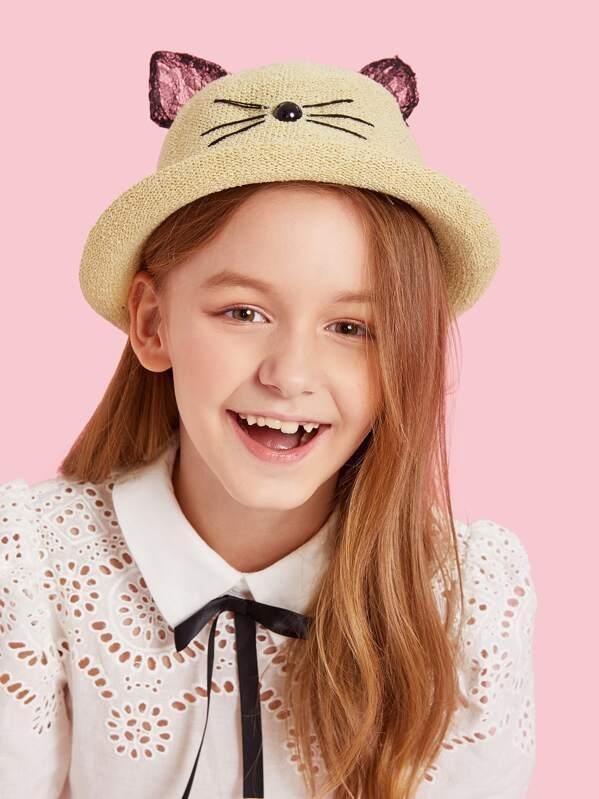 Kids Bead Detail Cat Ear Decor Bowler Hat