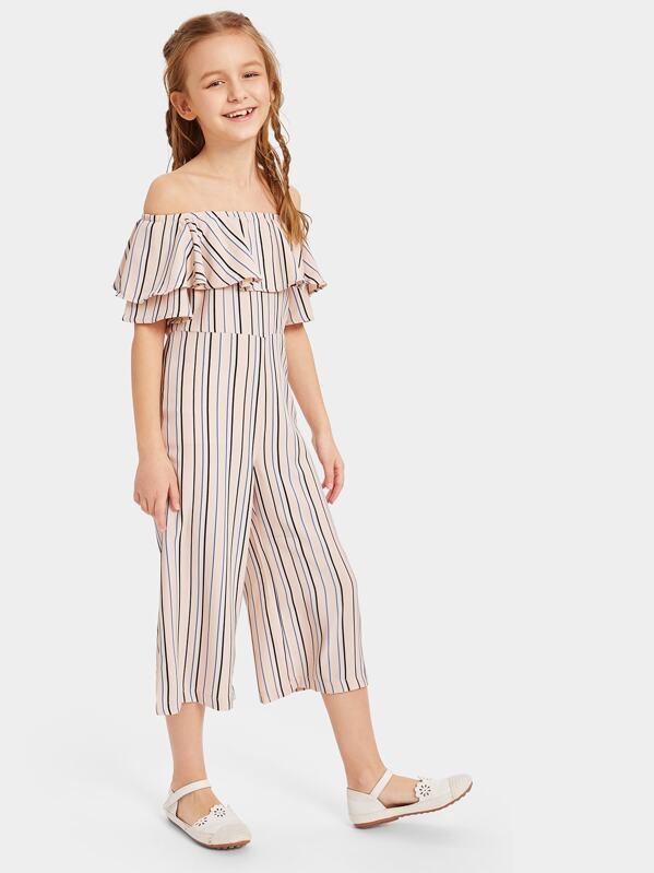 Girls Flounce Layered Neck Vertical-stripe Jumpsuit