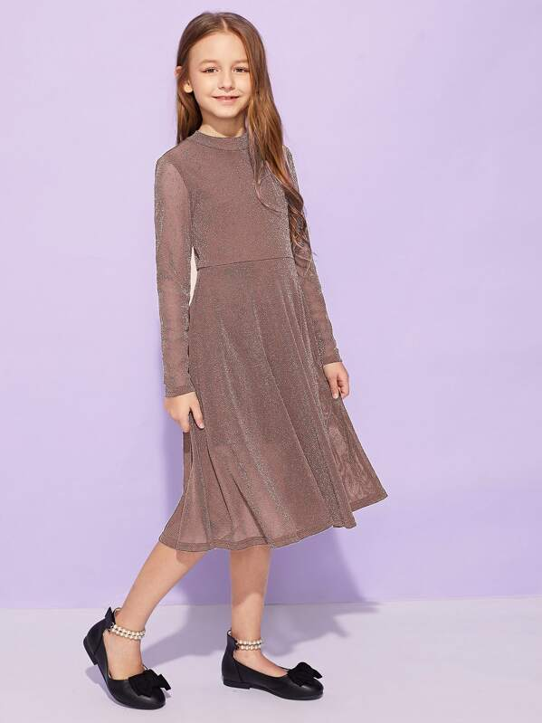 Girls Mock Neck Glitter Fit & Flare Dress, Sashab