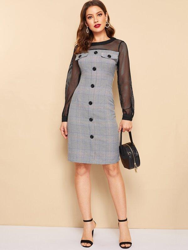 Платье в клетку с сетчатыми вставками и пуговицами, Debi Cruz