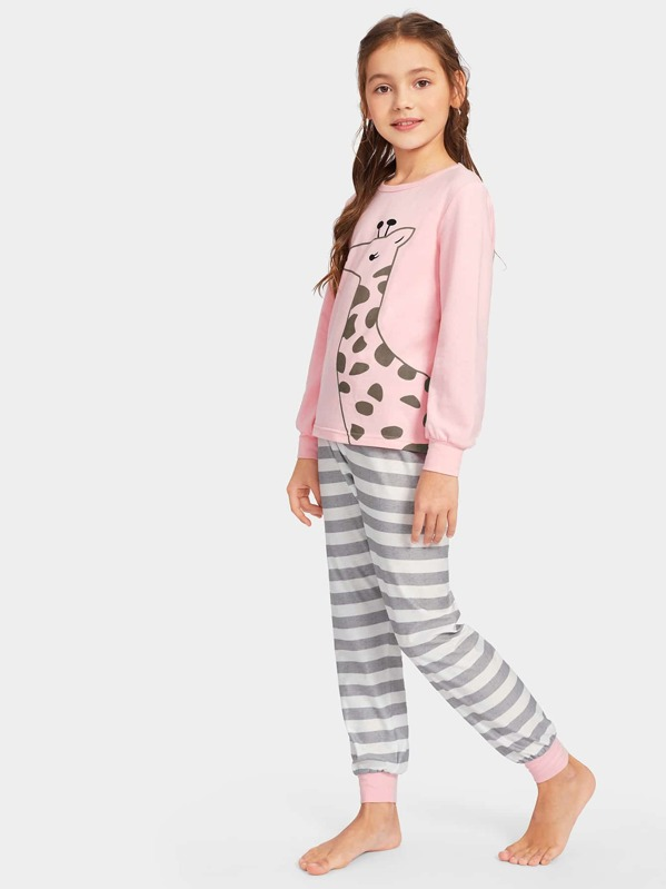 Girls Giraffe Print Striped Pajama Set
