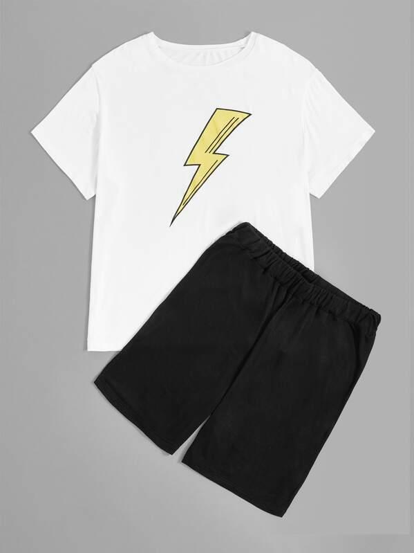 Men Lightning Print Pajama Set