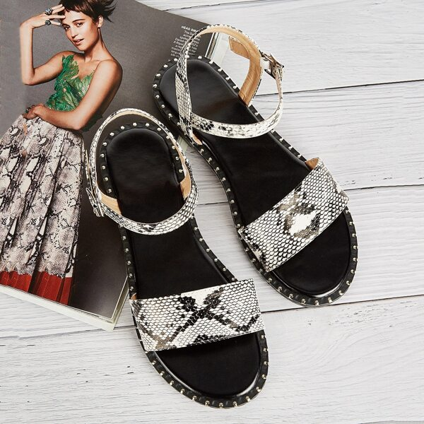 Snakeskin Pattern Flat Sandals, Multicolor