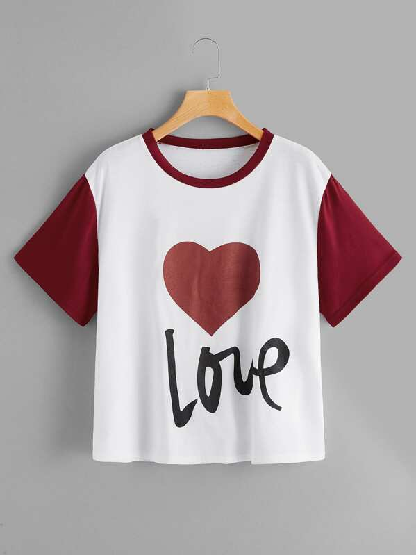 Plus Contrast Sleeve Letter And Heart Print Tee