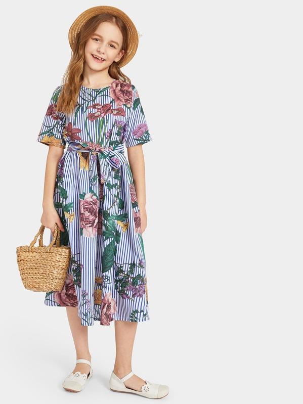 Girls Striped Floral Print Belted Dress