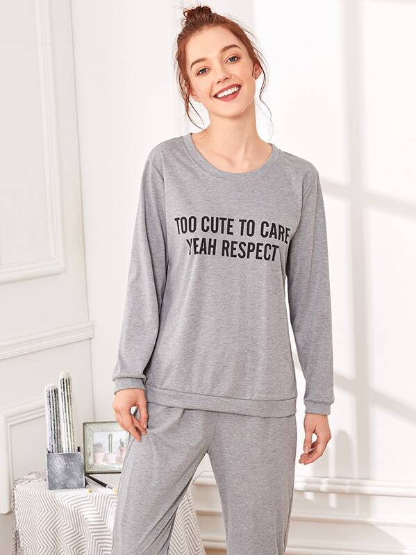 Slogan Print Pajama Set