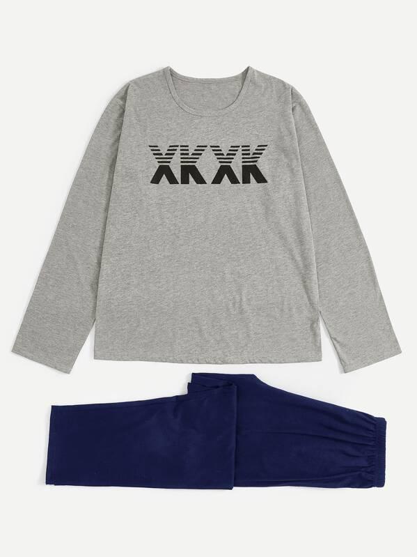 Men Letter Print Pajama Set