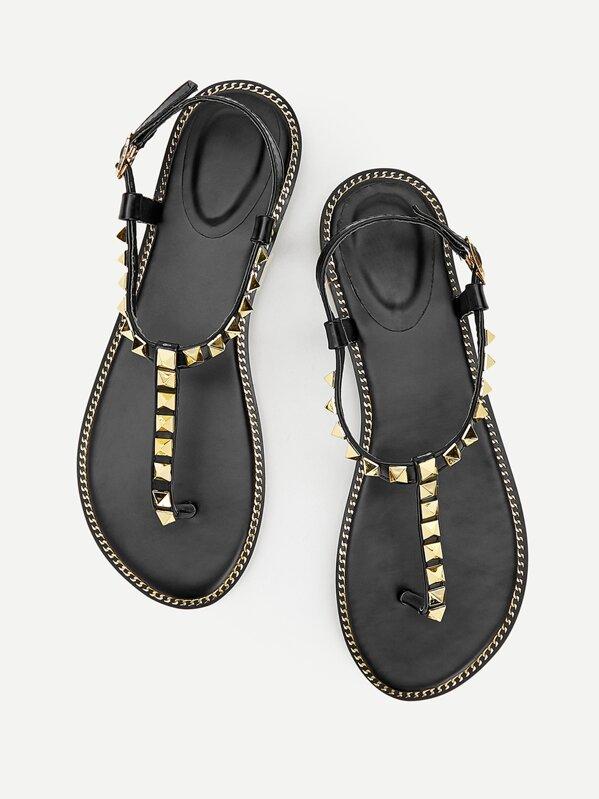 Studded Decor Toe Post Flat Sandals