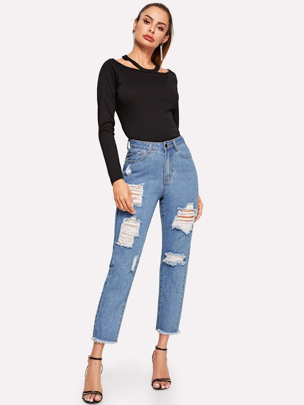Ripped Detail Raw Hem Jeans, Andy