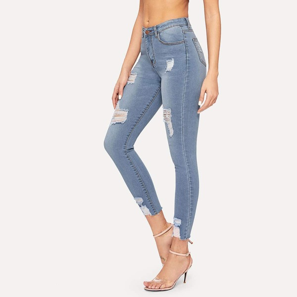 Ripped Button Fly Skinny Jeans