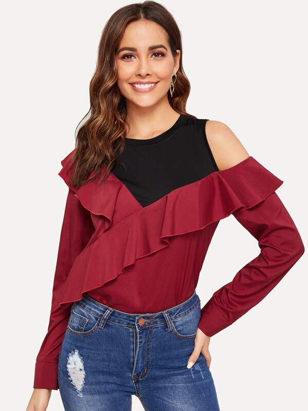 Cold Shoulder Flounce Foldover 2 In 1 Blouse
