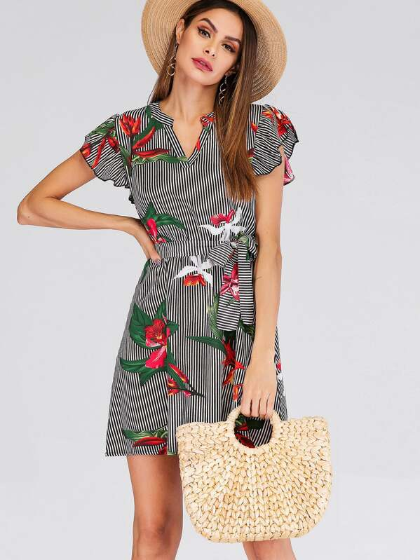 Self Tie Floral Print Striped Dress