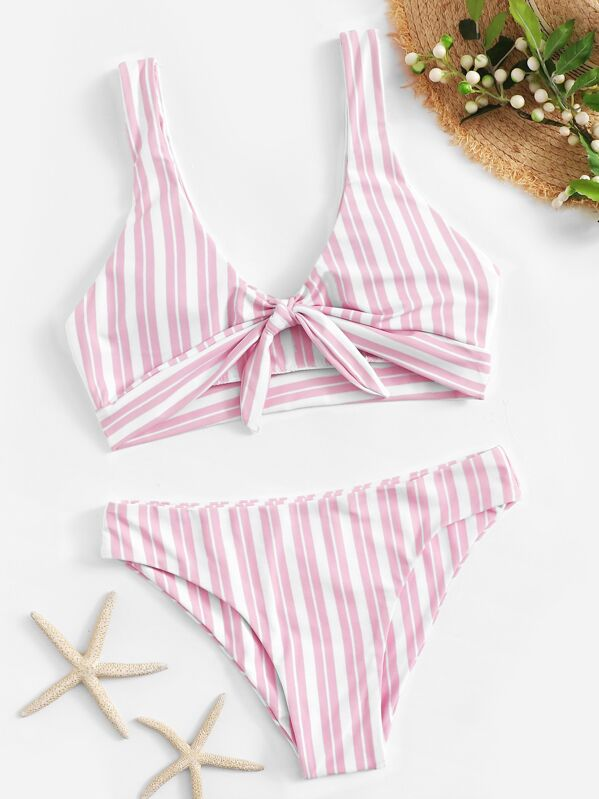Striped Knot Front Top With Panty Bikini