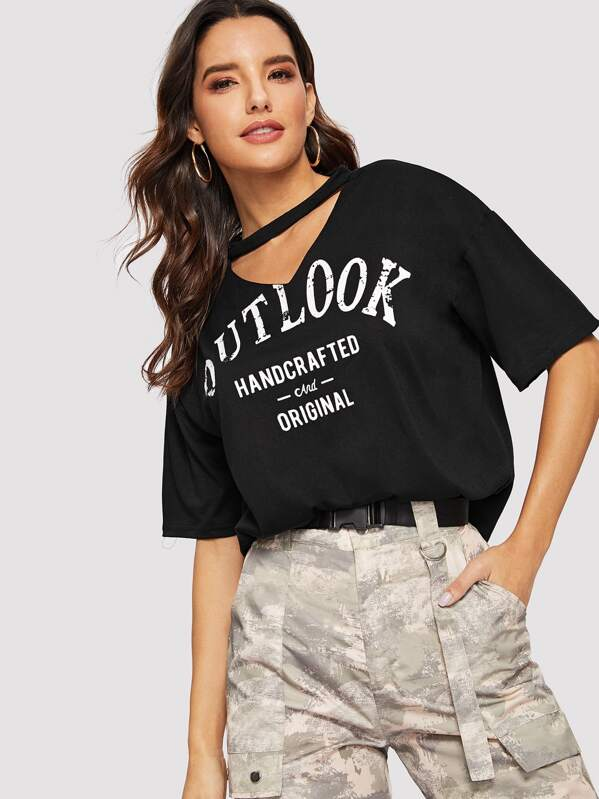 V-cut Neck Letter Graphic Boxy Tee, Juliana