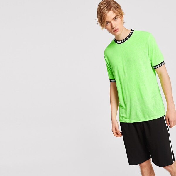 Men Stripe Cuff & Neck Neon Green Tee
