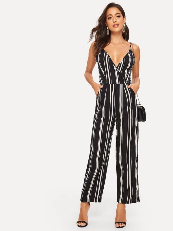 Striped Lace-up Backless Cami Jumpsuit, Mary P.