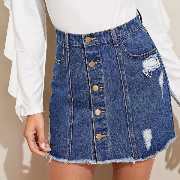 Ripped Detail Button Up Denim Skirt