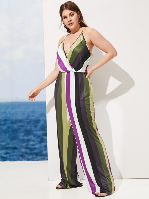 Plus Striped Wide Leg Cami Jumpsuit, Isabela