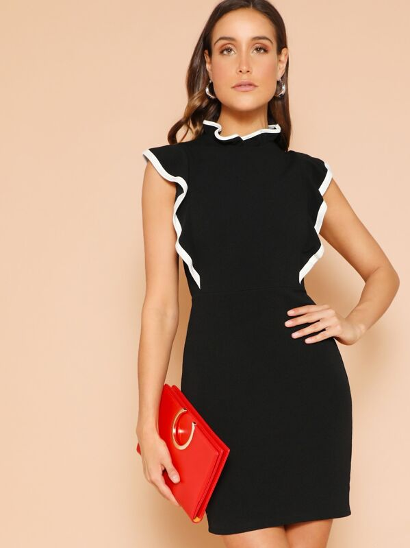 Ruffle Detail Mock-neck Bodycon Dress